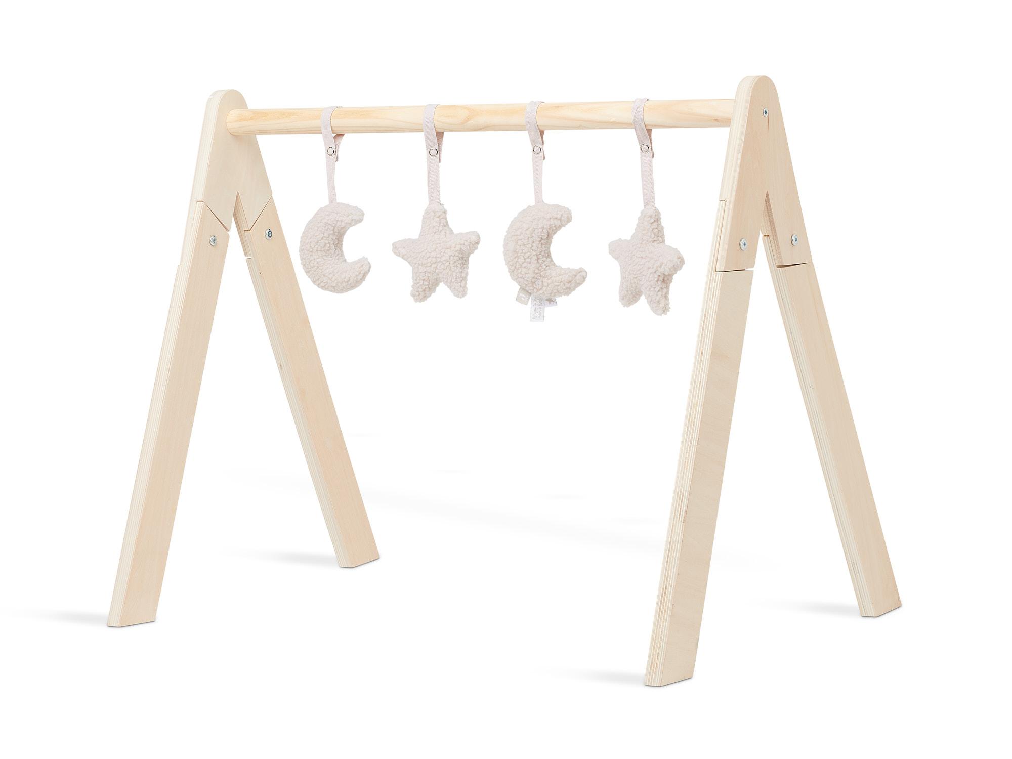 Anhänger für Baby Gym 4er Set Mond Sterne Teddyplüsch nougat