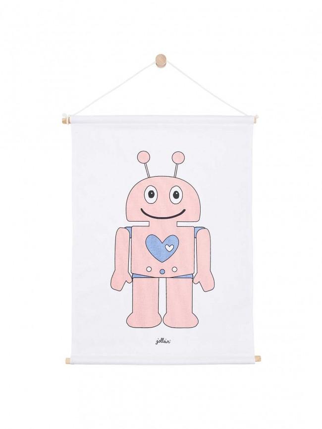 Jollein Leinen Poster Roboter rosa 42 x 60 cm
