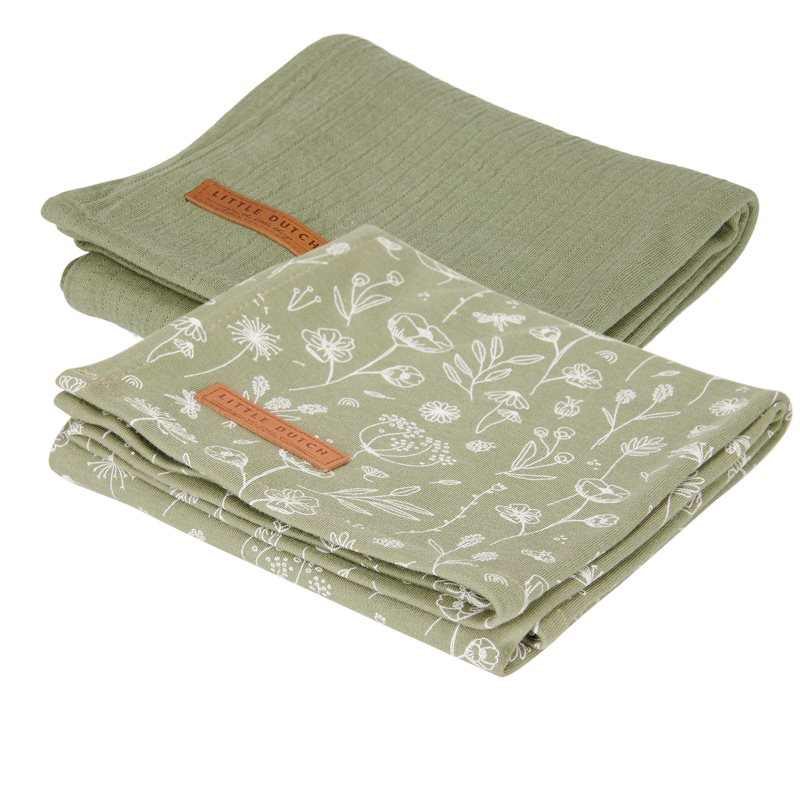 Musselin Swaddle Tuch 2er Set Wild Flowers olive / Pure olive (Gr. 70x70 cm)