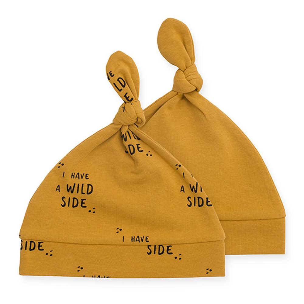 Jollein Baby Mütze Wild Side Tiger senfgelb ocker 6-12 Monate 2er Set