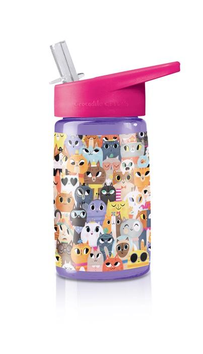 Trinkflasche aus Tritan mit Strohhalm Katzen lila 425 ml