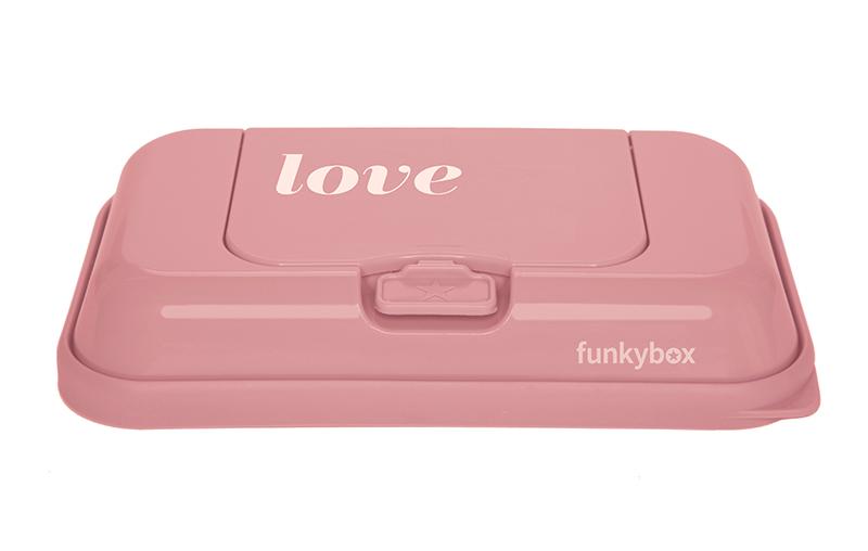 Feuchttücher Aufbewahrungsbox ToGo Love rosa