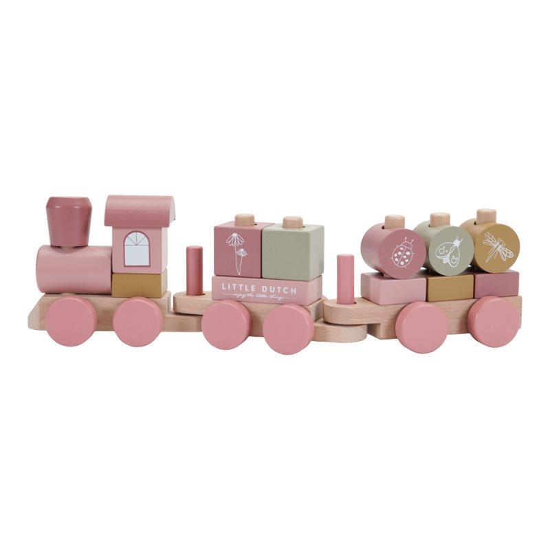 Holz Zug Eisenbahn mit Steckformen Wild Flowers rosa