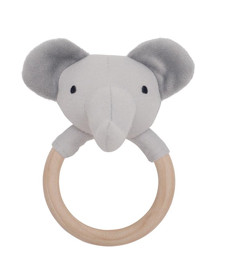 Holz Greifling Rassel Elefant grau