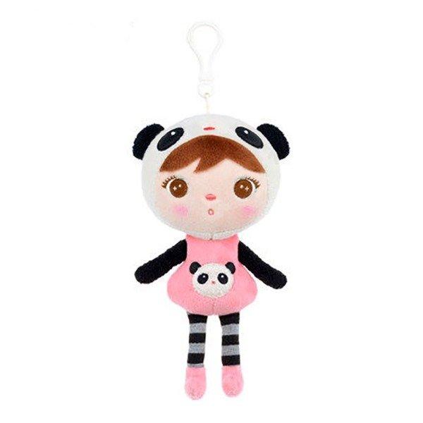 Mini Stoffpuppe Panda Bär Mädchen mit Anhänger 22 cm