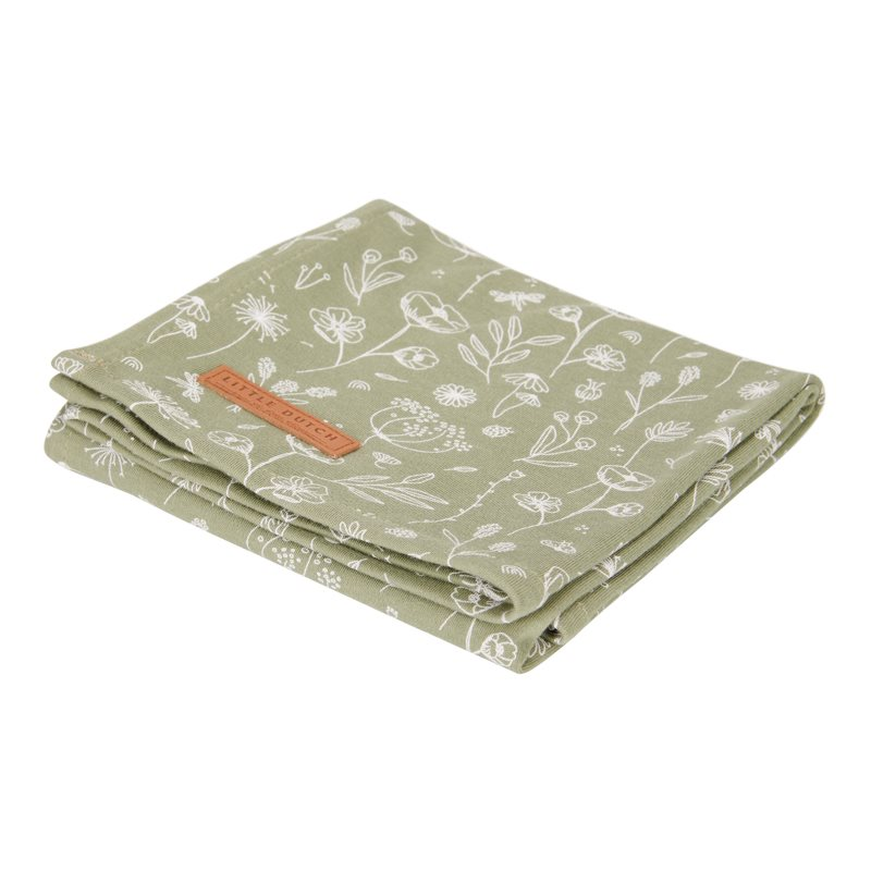 Musselin Swaddle Tuch / Pucktuch Wild Flowers olive (Gr. 120x120 cm)