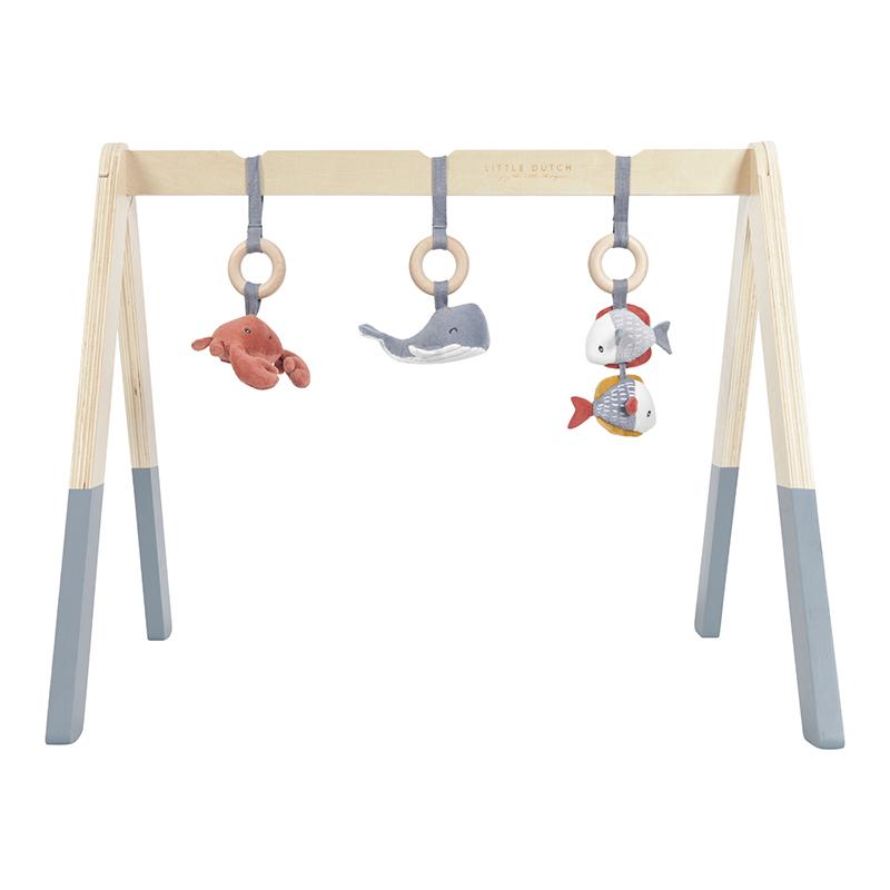 Holz Baby Gym Spieltrapez mit Stoff Anhängern Ocean blau