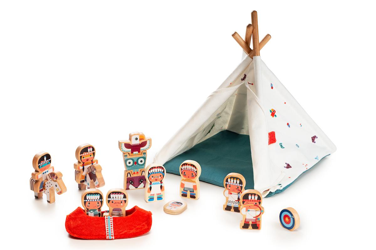 Indianer Figuren Set Stoff Wigwam mit Zubehör 18-teilig