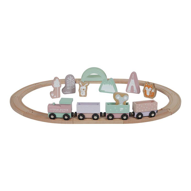 Holz Eisenbahn mit Schienen Adventure rosa