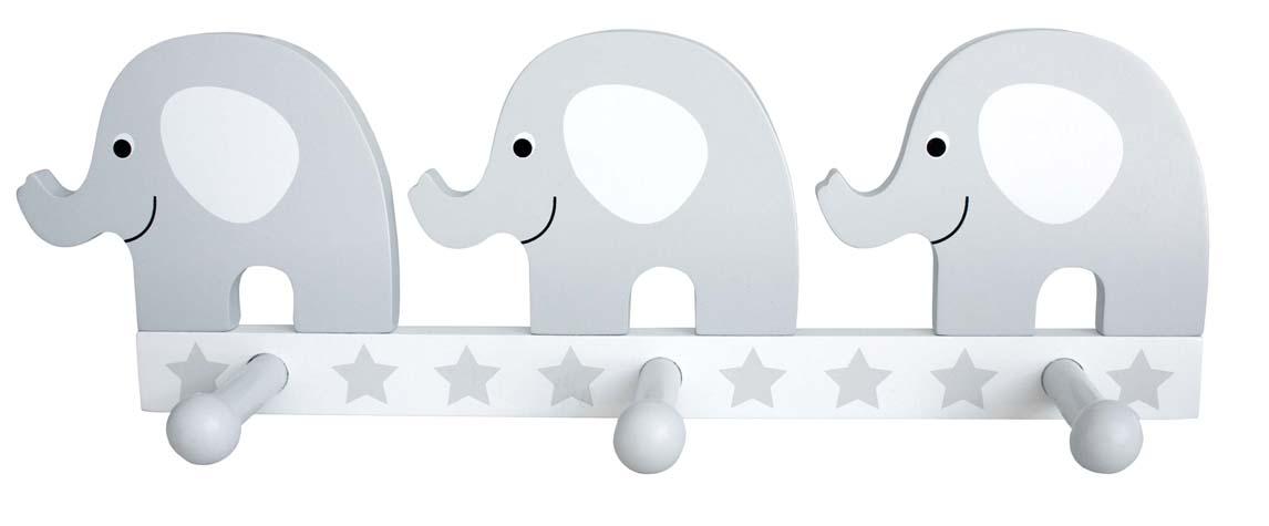 Wandgarderobe Elefant weiß grau