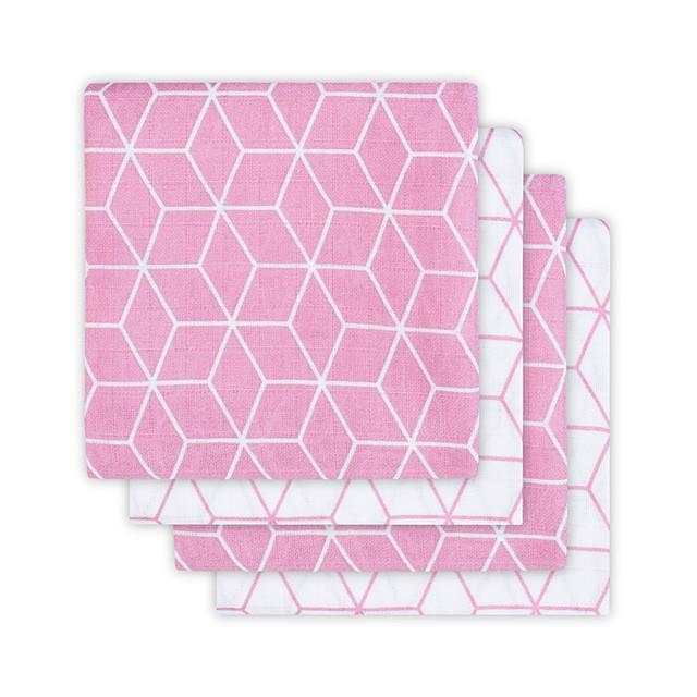 Mulltücher Graphic malve pink 70x70 cm 4er Pack