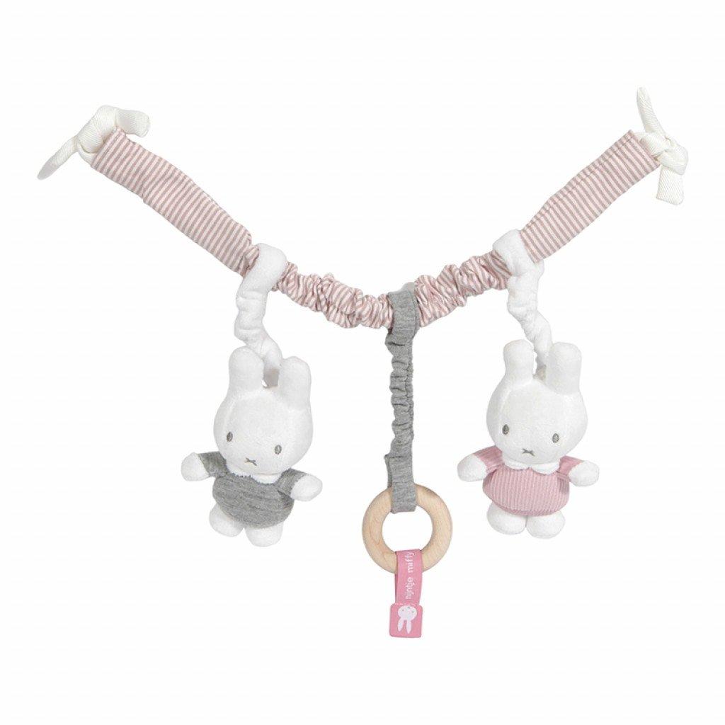 Miffy Hase Cord Kinderwagenkette Spielzeug für die Babyschale rosa grau