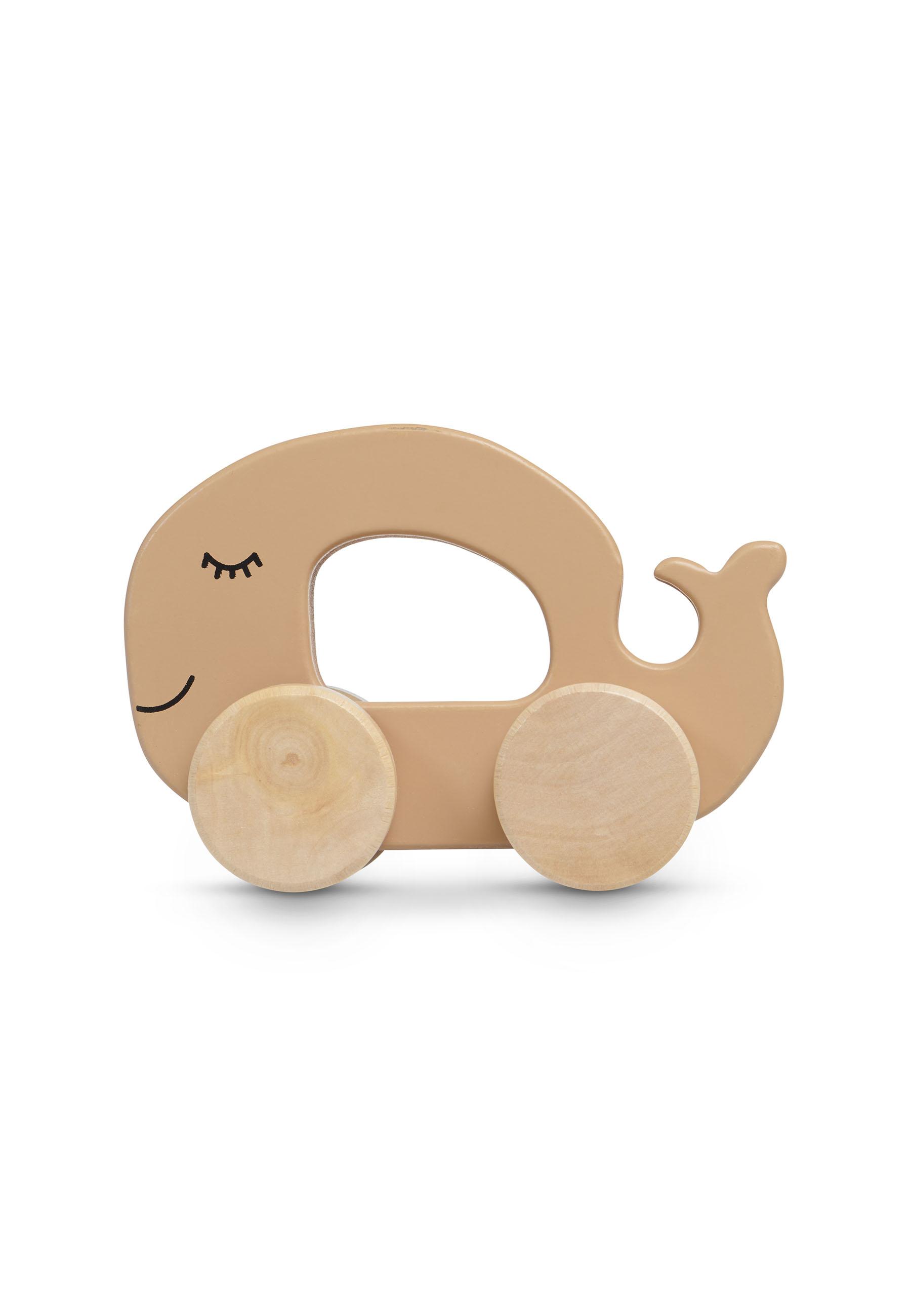 Holz Wal auf Rädern karamell