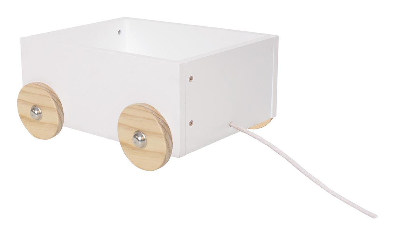 Holz Spielzeugkiste mit Rädern klein weiß