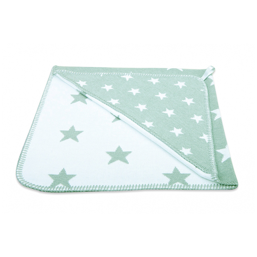 Kapuzendecke Sterne mint weiß 82x82 cm
