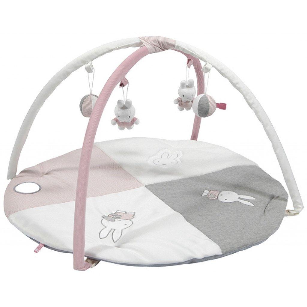 Krabbeldecke mit Spielbogen Miffy Hase Cord rosa