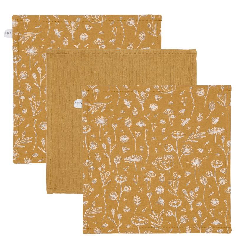 Spucktücher Mundtücher 3er Set Wild Flowers ocker (Gr. 26x26 cm)