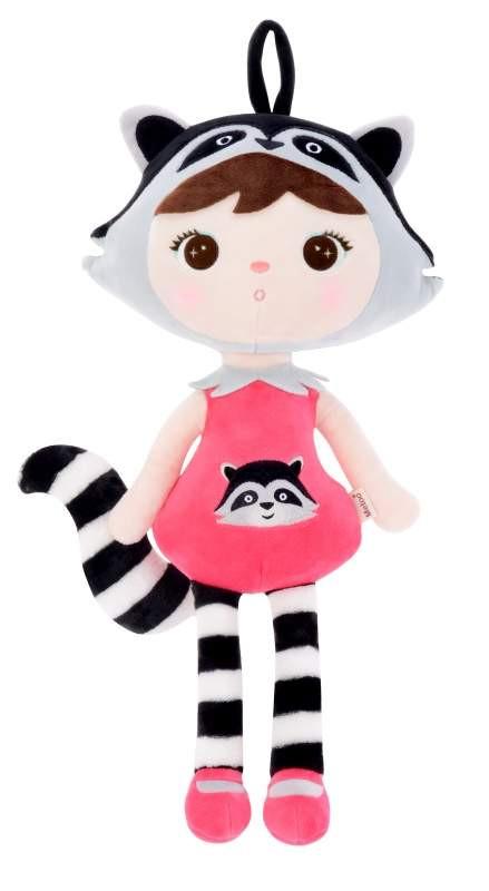 Stoffpuppe Waschbär Mädchen pink schwarz weiß 45 cm