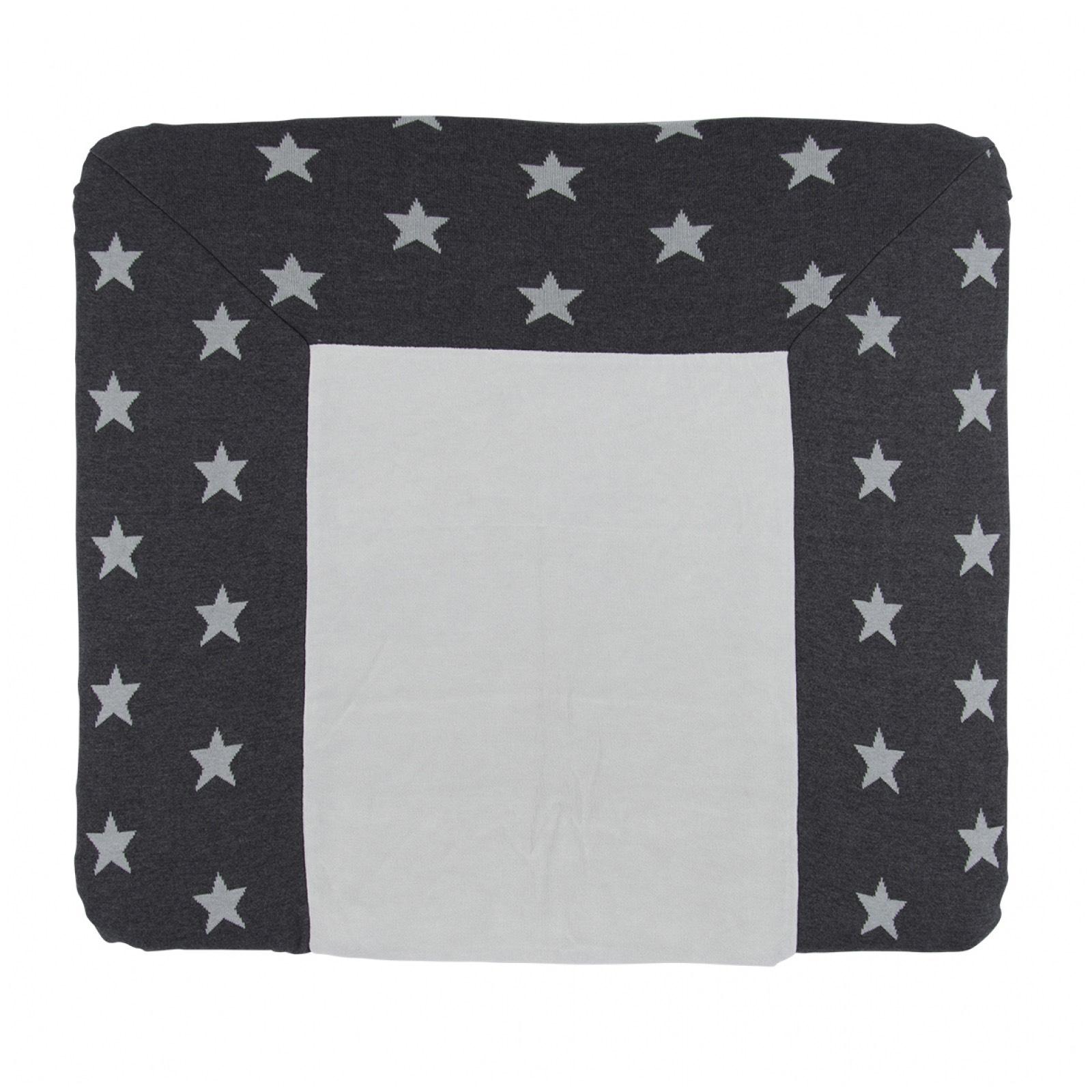 Wickelauflagenbezug Sterne anthrazit / grau (Gr. 75x85 cm)