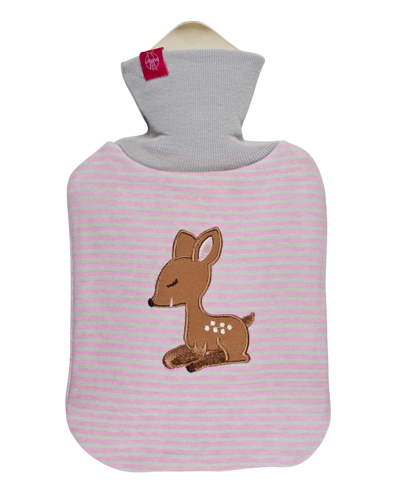 Wärmflasche rosa gestreift mit LELA