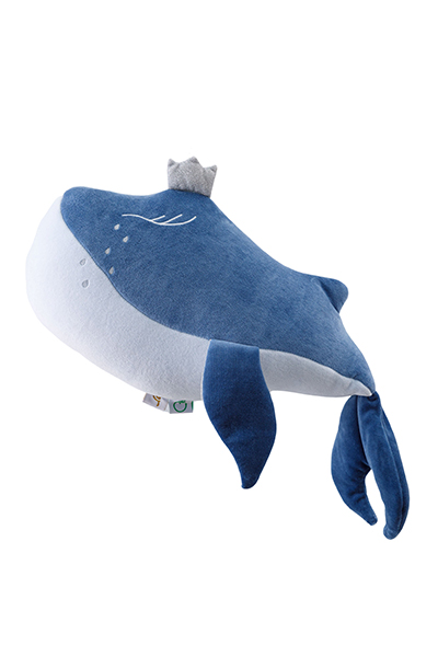 Samt Spielkissen Kuscheltier Walfisch Willie 45x26 cm