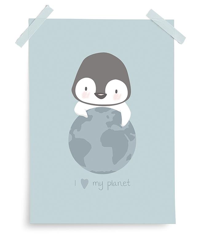 Poster My Planet Pinguin mint 30x40 cm