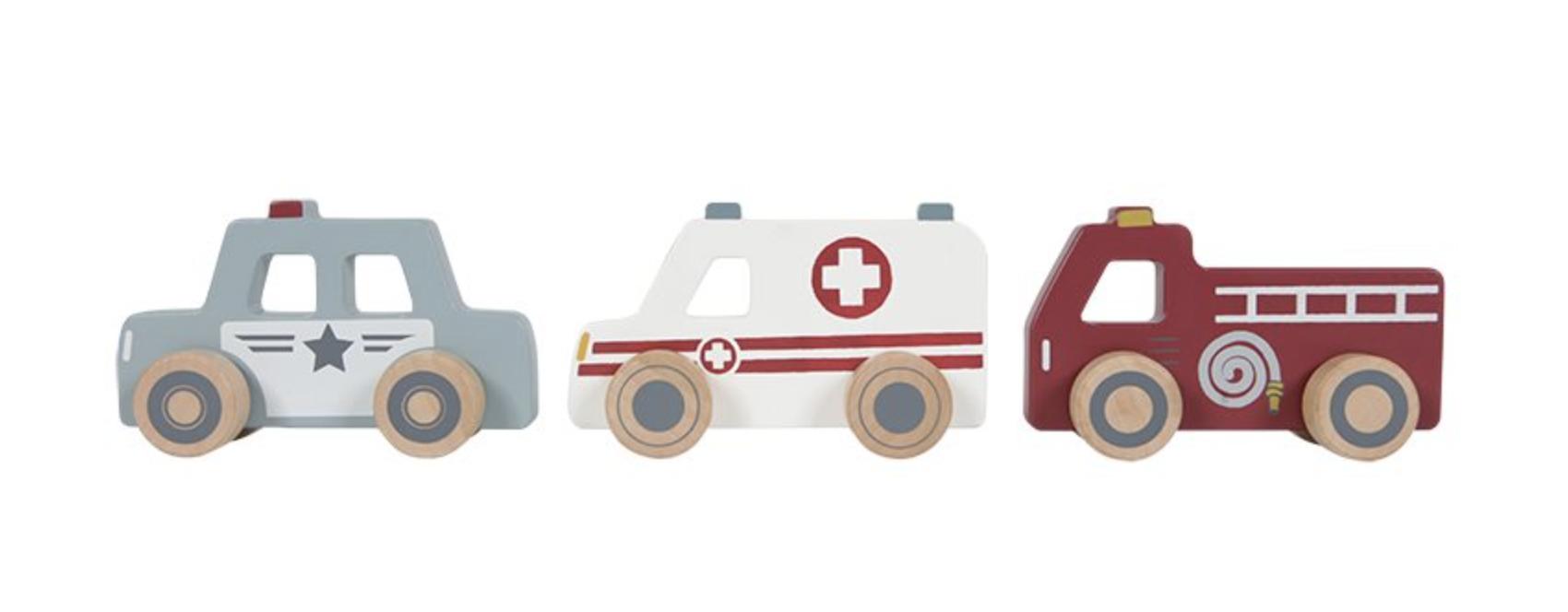 Holzauto Einsatzfahrzeuge Spielzeugautos 3er Set Krankenwagen, Polizei & Feuerwehr