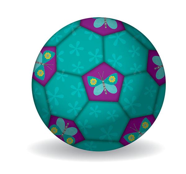 Fußball Schmetterlinge türkis Ø 14 cm