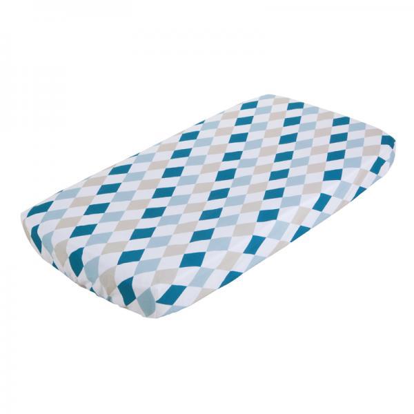 Spannbetttuch für Kinderbett Rauten mint beige 70x140 cm