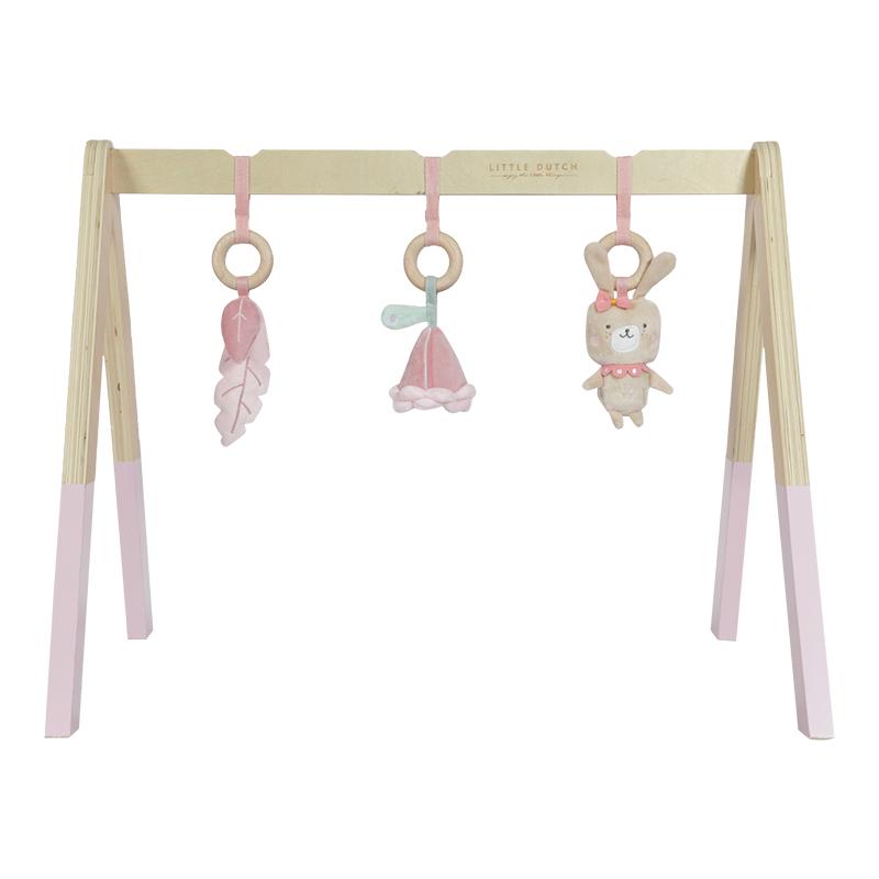 Holz Baby Gym Spieltrapez inkl. Anhänger rosa