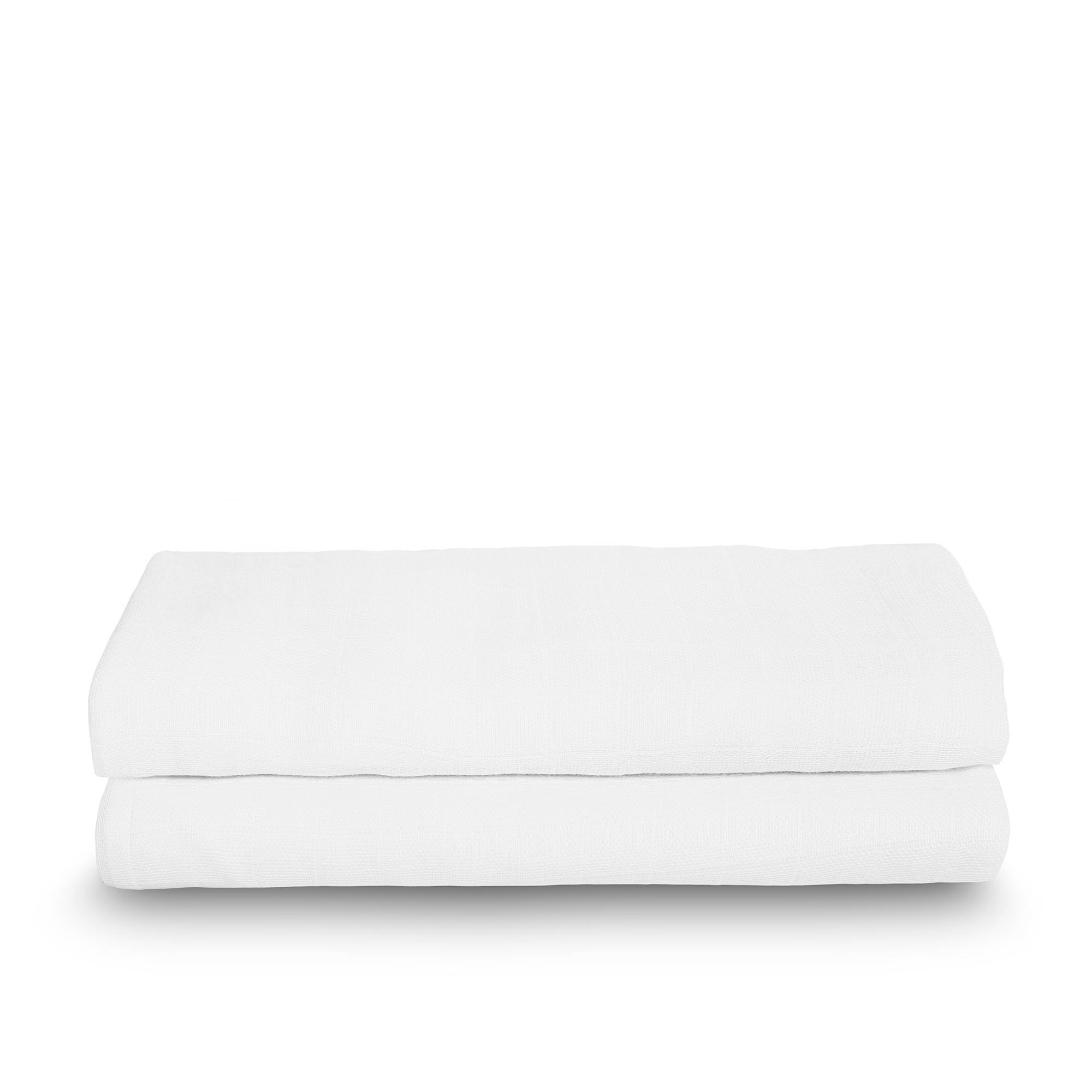 Mulltücher Swaddle Bambus 2er Set weiß (115x115 cm)