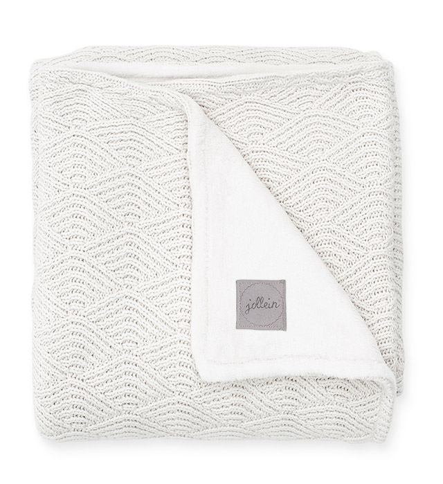 Babydecke Strickdecke mit Fleece River Knit weiß (75x100 cm)