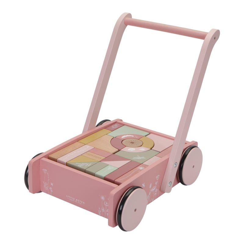 Holz Lauflernwagen mit Bauklötzen Wild Flowers rosa