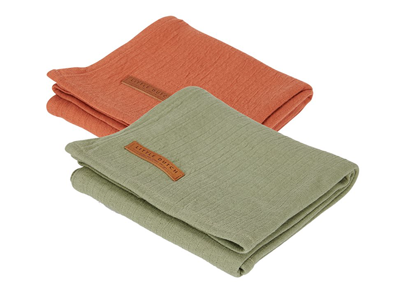 Musselin Swaddle Tuch 2er Set Pure olive / Pure rost (Gr. 70x70 cm)