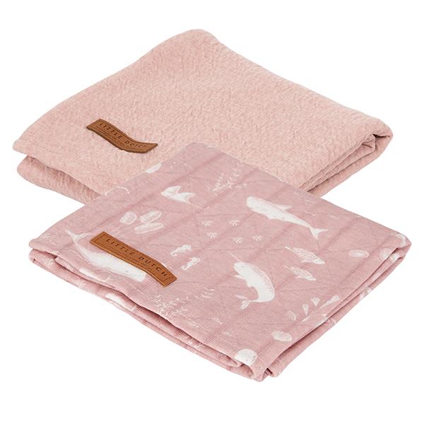 Musselin Swaddle Tuch 2er Set Ocean rosa / Pure rosa (Gr. 70x70 cm)