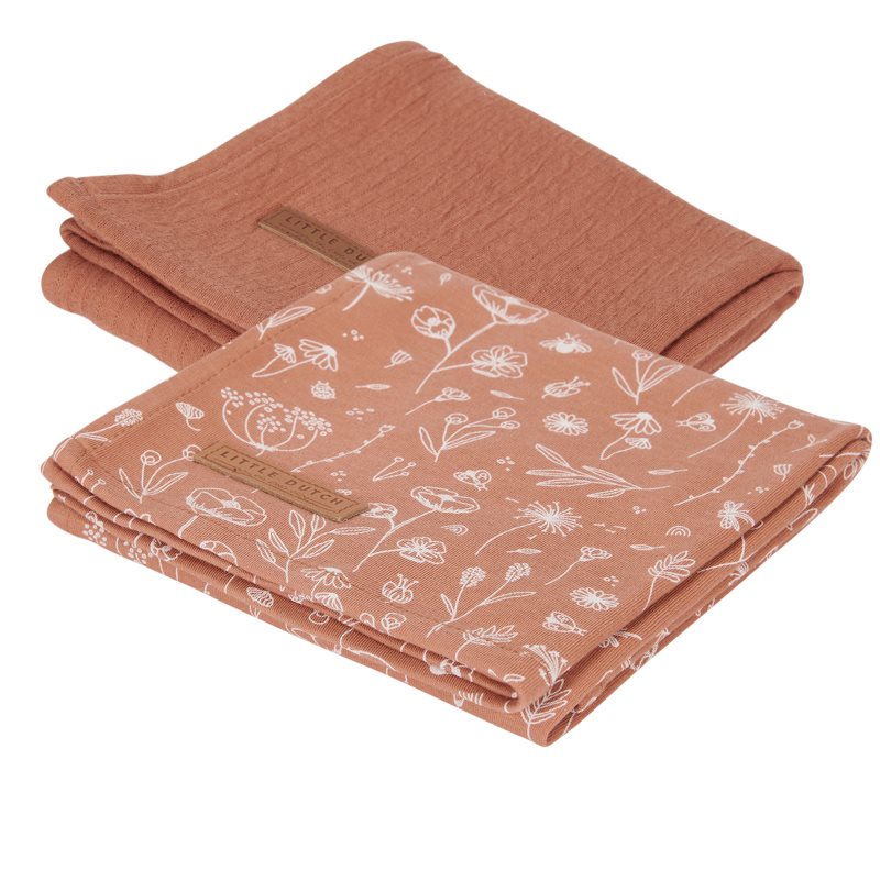 Musselin Swaddle Tuch 2er Set Wild Flowers rost / Pure rost (Gr. 70x70 cm)