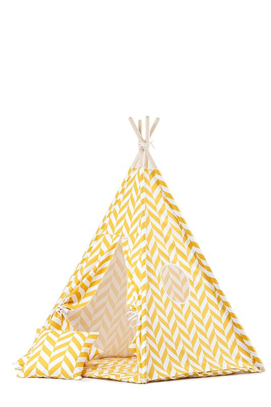 Stoffzelt Tipi Spielzelt Zickzack gelb weiß