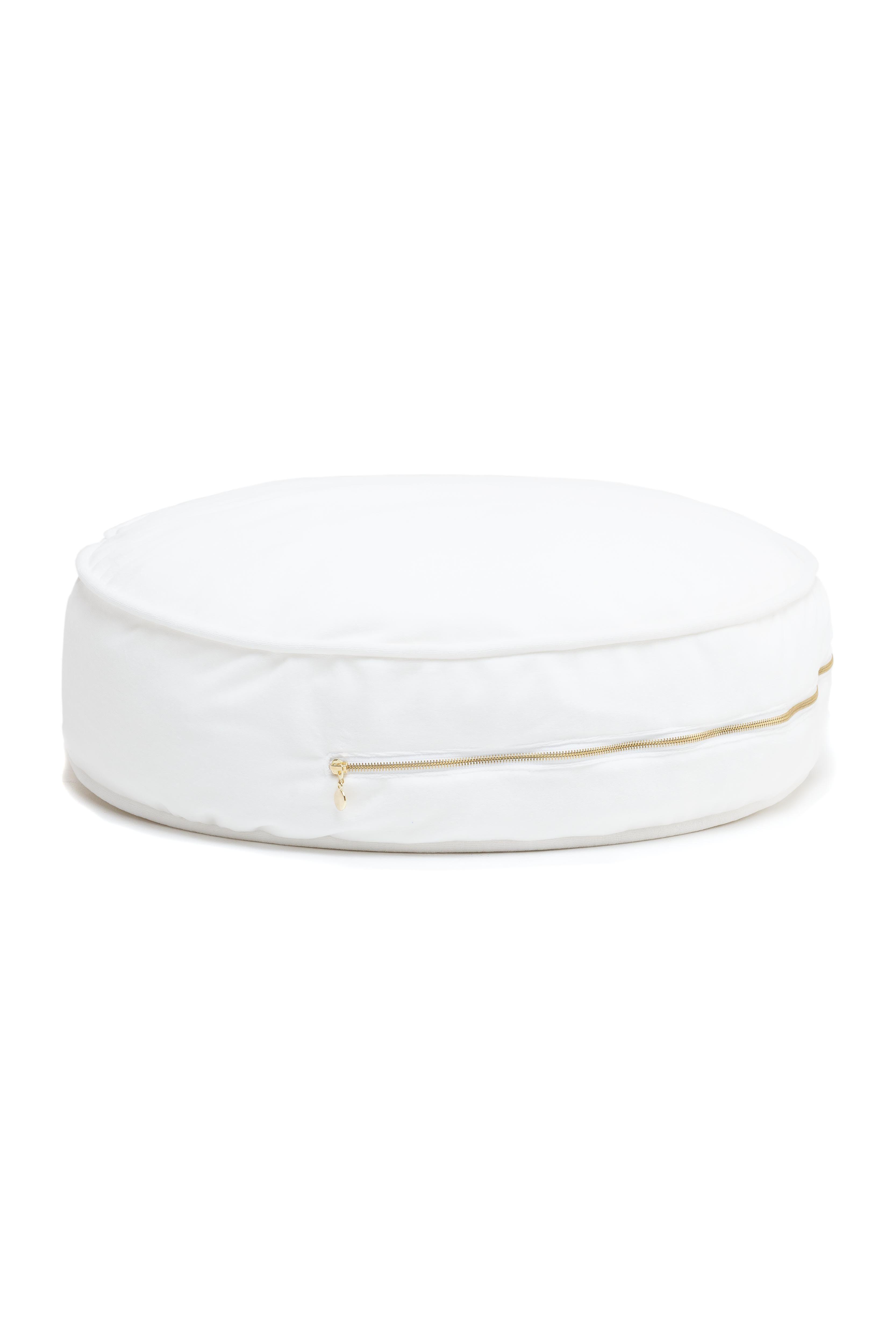 rundes Samt Sitzkissen Ottomane weiß
