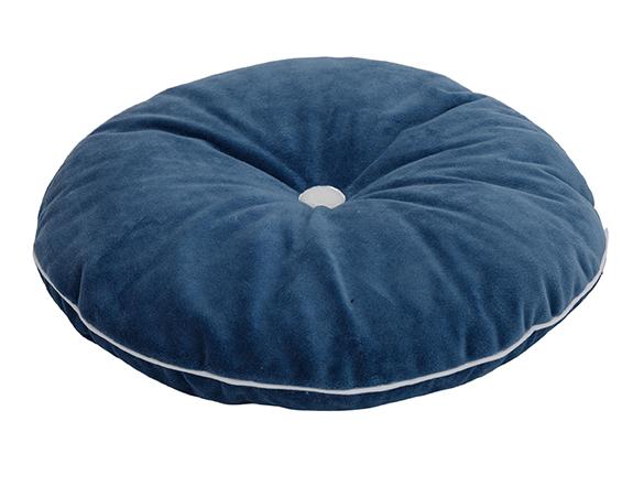 rundes Samt Kissen mit Knopf blau weiß ø35 cm