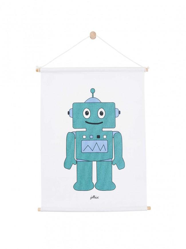 Jollein Leinen Poster Roboter türkis 42 x 60 cm