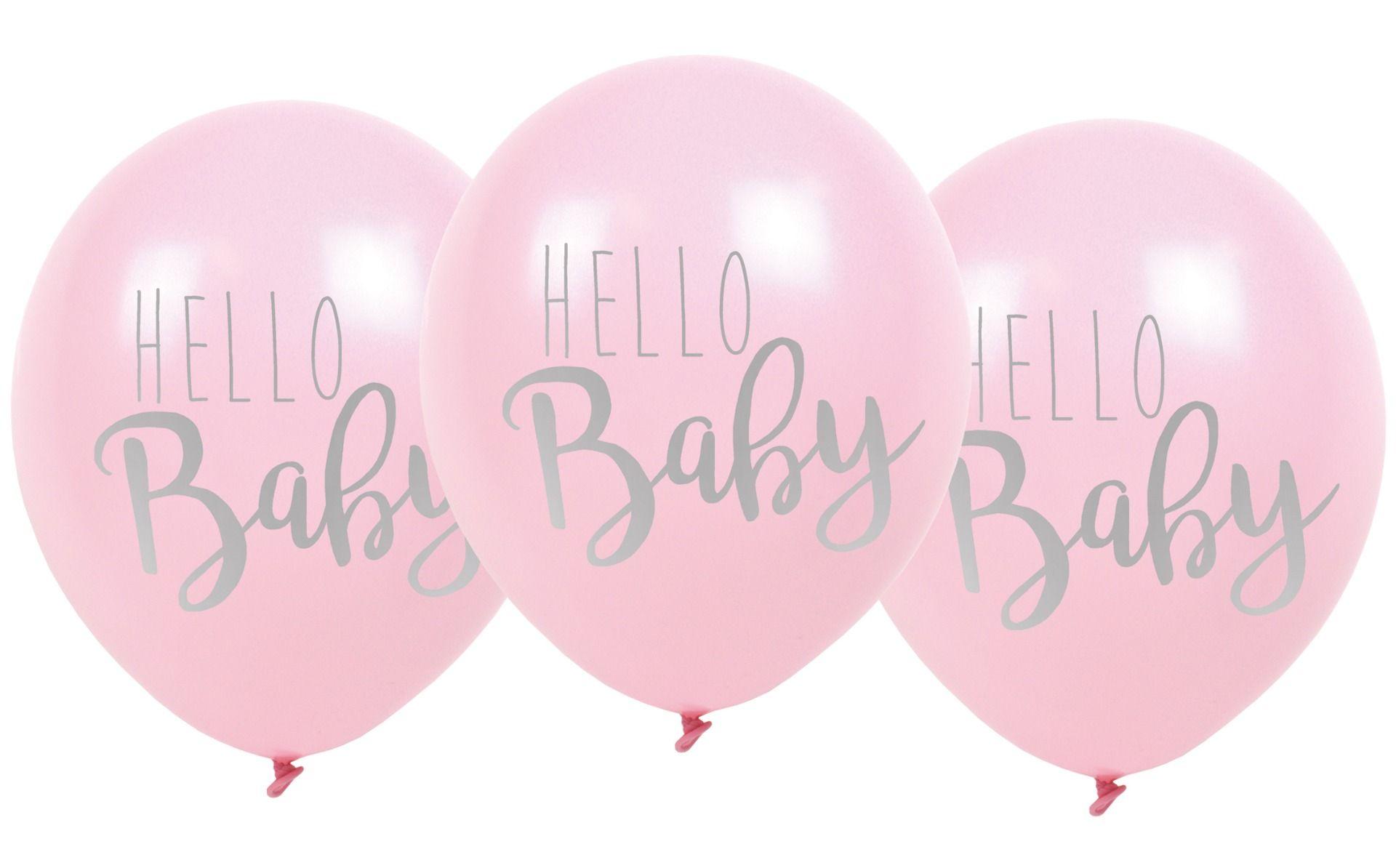 Luftballons Hello Baby rosa 3er Set