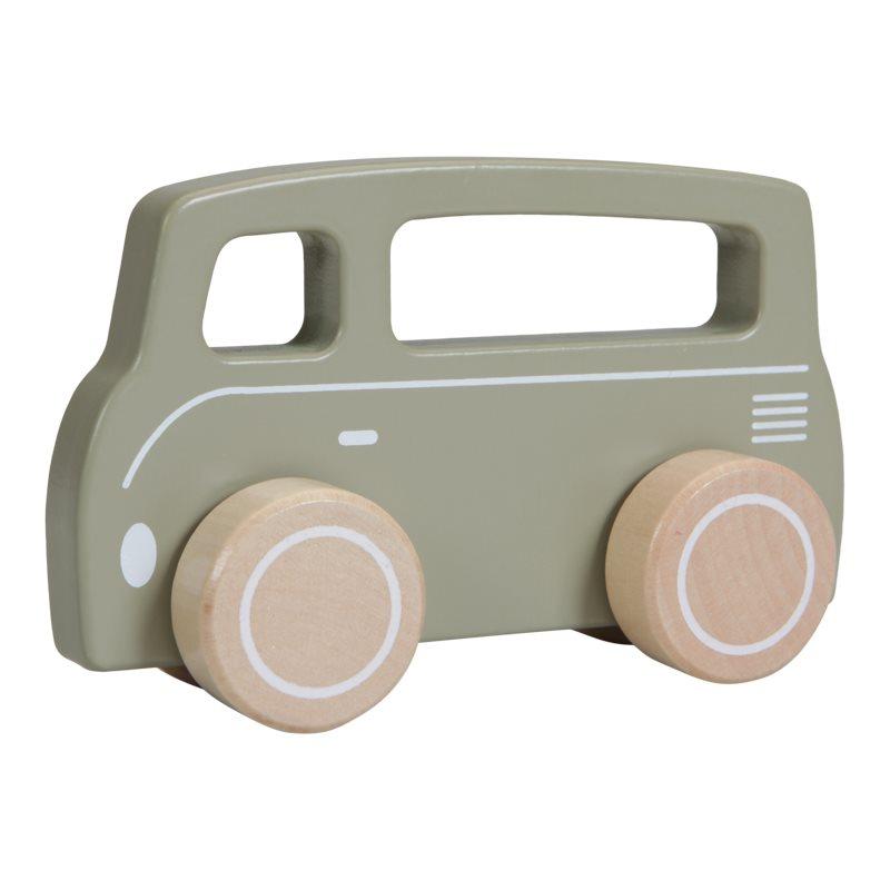 Holzauto Bus olive