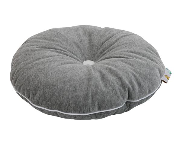 rundes Samt Kissen mit Knopf grau weiß ø35 cm