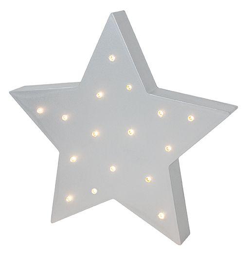 Holz Wandleuchte LED Lampe Stern silber grau
