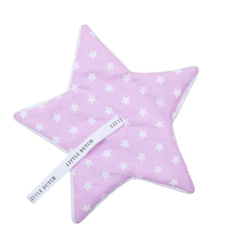 Schnullertuch Stern rosa mit weißen Sternen