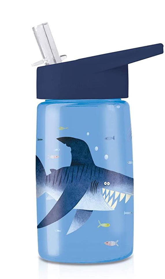 Trinkflasche aus Tritan mit Strohhalm Haifisch blau