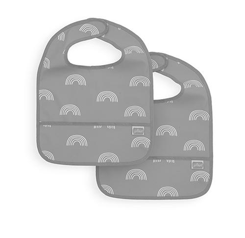 Lätzchen Regenbogen wasserdicht grau 2er Pack