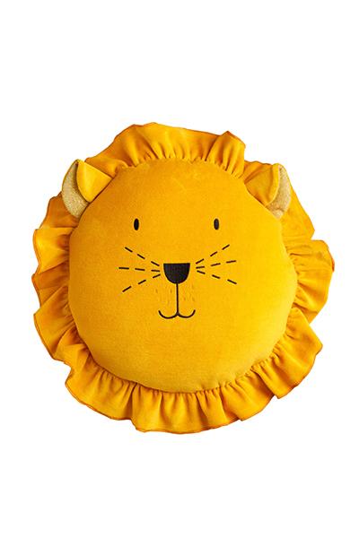 Samt Spielkissen Löwe gelb 35 cm