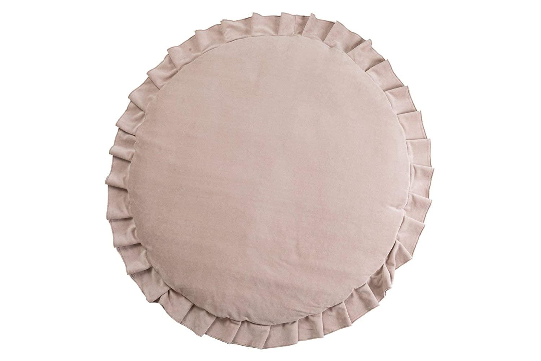 Samt Krabbeldecke Spielmatte mit Rüschen rund puderbeige ø110cm