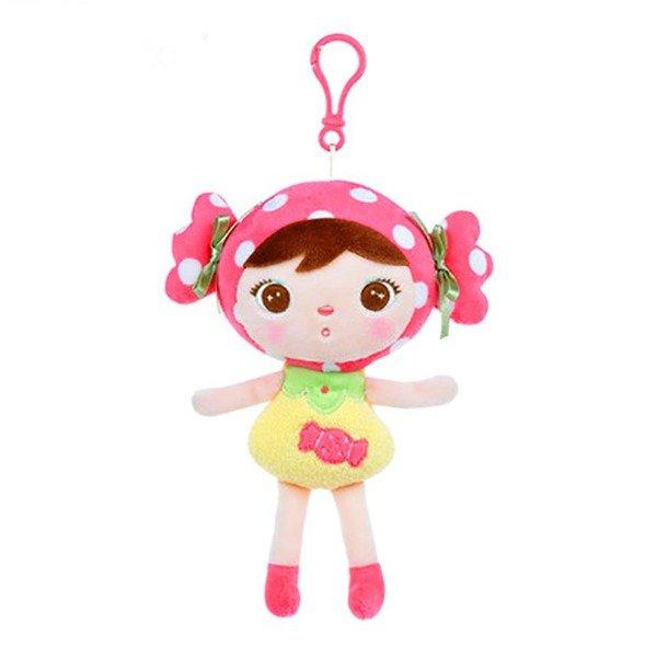 Mini Stoffpuppe Bonbon Mädchen mit Anhänger 22 cm